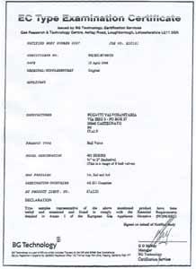 Сертификат Великобритания Bugatti