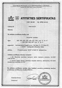 Сертификат Литва Bugatti